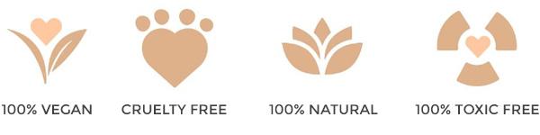 100% natural, 100% vegana, 100% libre de tóxicos y 100% cruelty free.